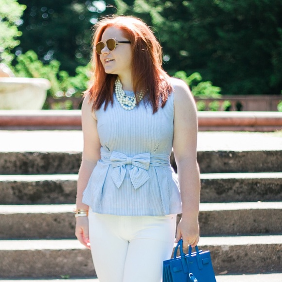 kate spade Tops - kate spade blue and white stripe peplum top